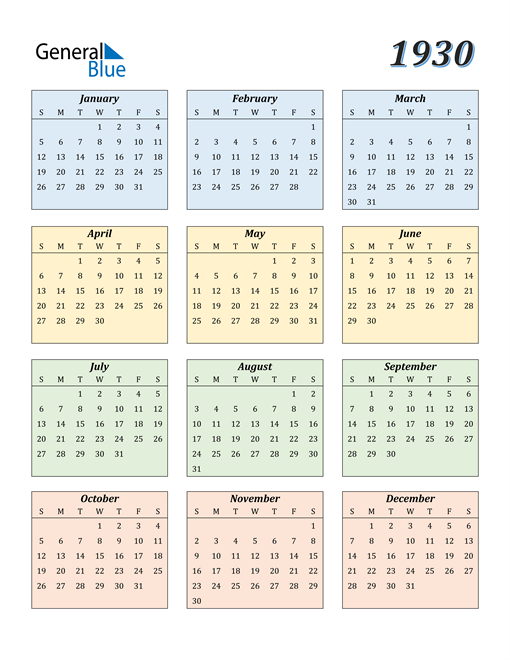 Image of 1930 1930 Calendar with Color
