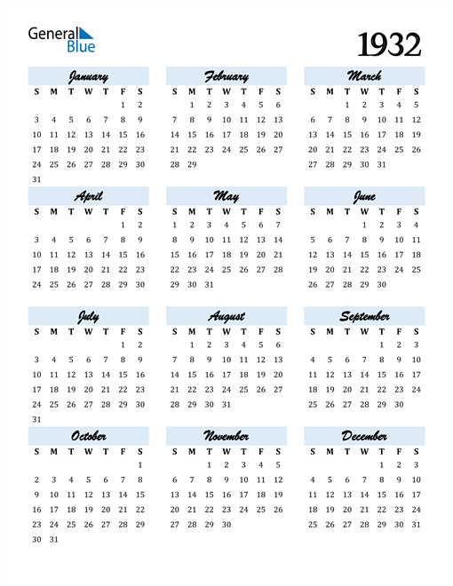 Image of 1932 1932 Calendar Cool and Funky