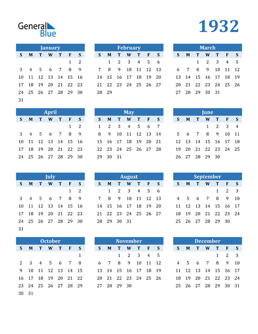 Image of 1932 1932 Calendar Blue with No Borders
