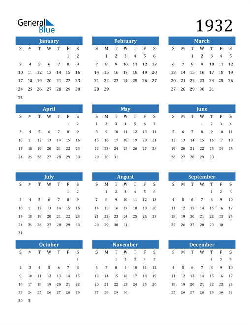 Image of 1932 1932 Calendar