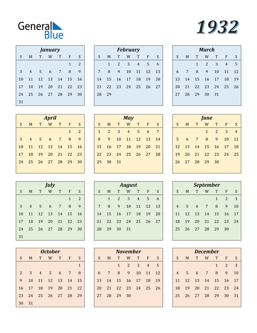 Image of 1932 1932 Calendar with Color