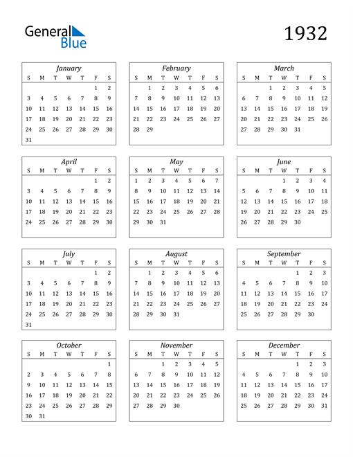 Image of 1932 1932 Calendar Streamlined