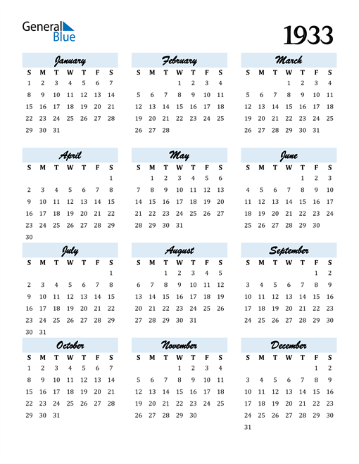 Image of 1933 1933 Calendar Cool and Funky