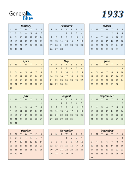 Image of 1933 1933 Calendar with Color