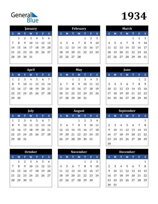 Image of 1934 1934 Calendar Stylish Dark Blue and Black