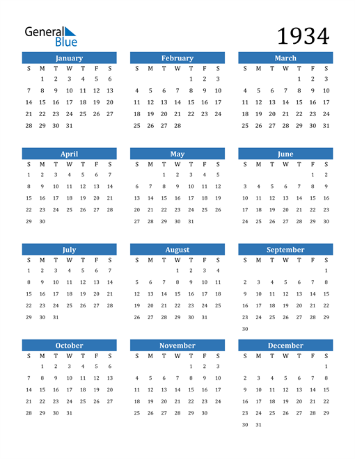 Image of 1934 1934 Calendar