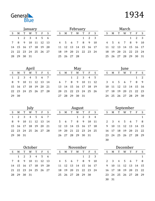 Image of 1934 1934 Printable Calendar Classic