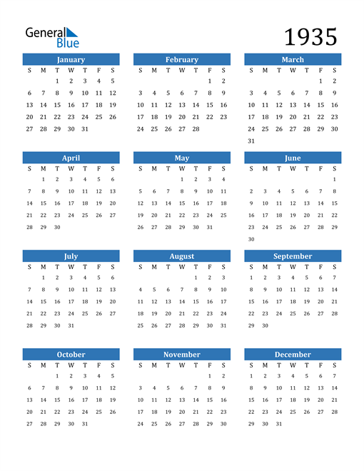 Image of 1935 1935 Calendar