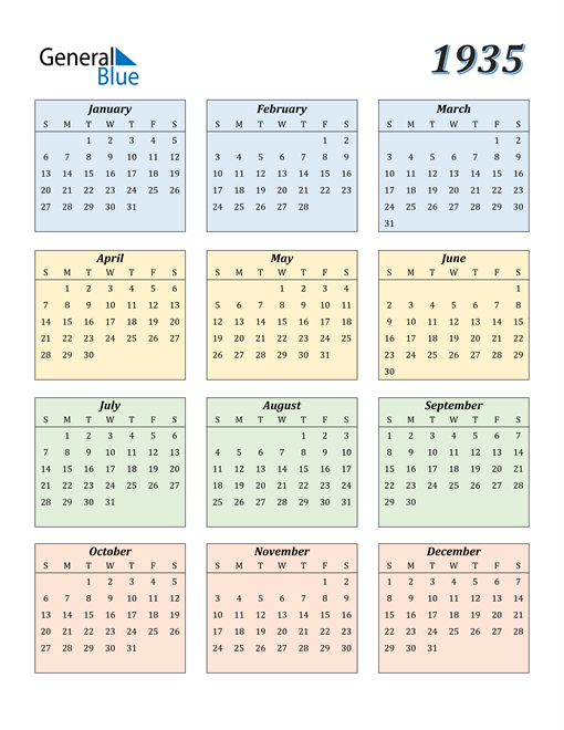 Image of 1935 1935 Calendar with Color