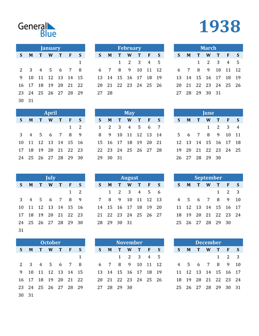 Image of 1938 1938 Calendar Blue with No Borders