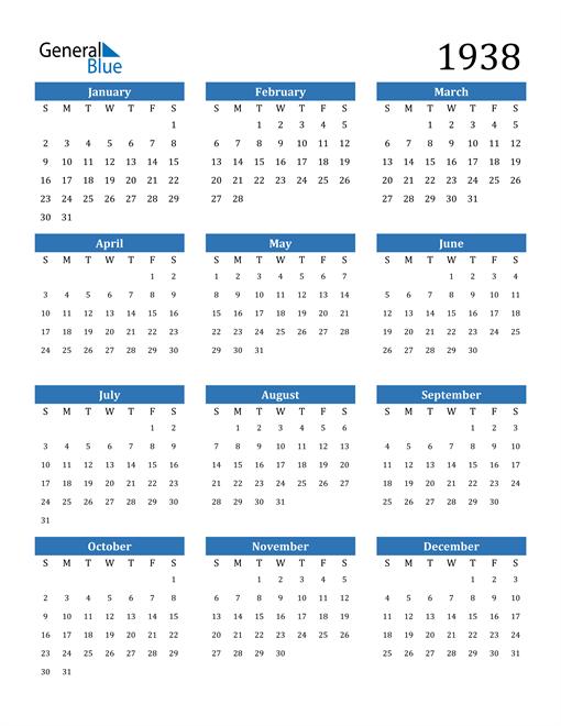 Image of 1938 1938 Calendar