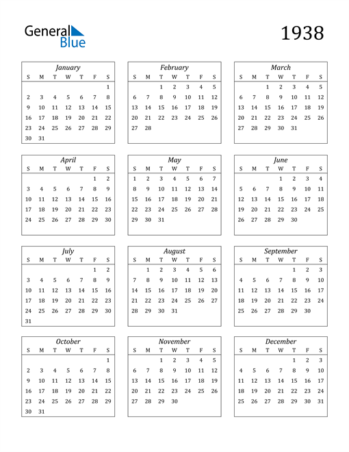 Image of 1938 1938 Calendar Streamlined