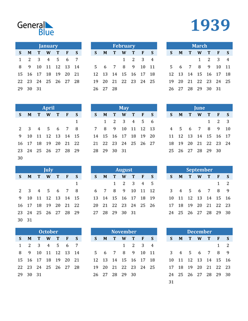 Image of 1939 1939 Calendar Blue with No Borders