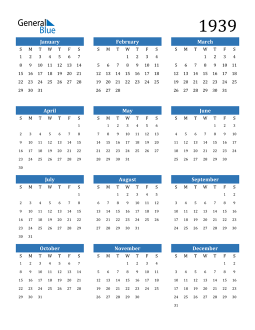 Image of 1939 1939 Calendar
