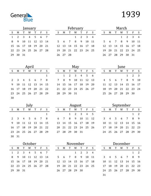 Image of 1939 1939 Printable Calendar Classic