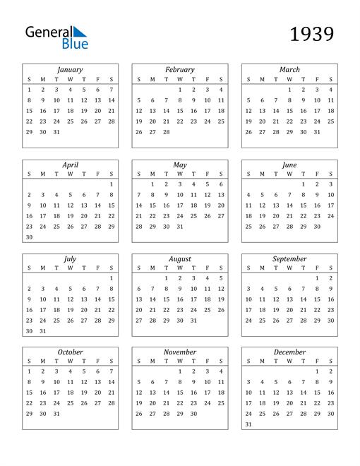 Image of 1939 1939 Calendar Streamlined