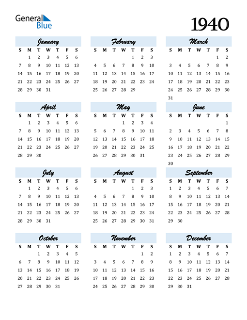 Image of 1940 1940 Calendar Cool and Funky
