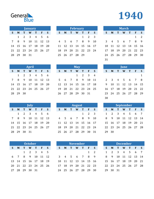 Image of 1940 1940 Calendar Blue with No Borders