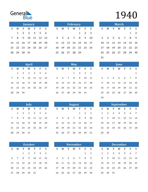 Image of 1940 1940 Calendar