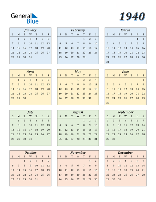 Image of 1940 1940 Calendar with Color