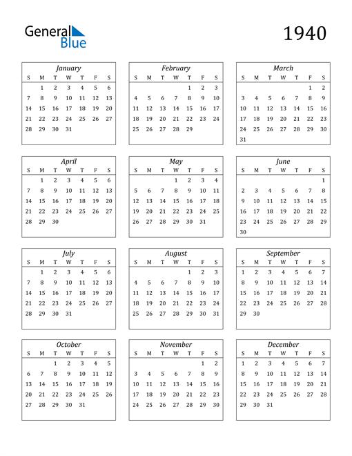 Image of 1940 1940 Calendar Streamlined