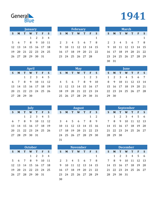 Image of 1941 1941 Calendar Blue with No Borders
