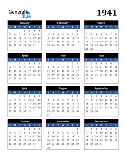 Image of 1941 1941 Calendar Stylish Dark Blue and Black