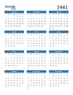 Image of 1941 1941 Calendar