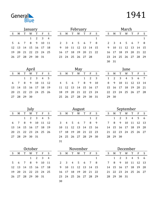 Image of 1941 1941 Printable Calendar Classic