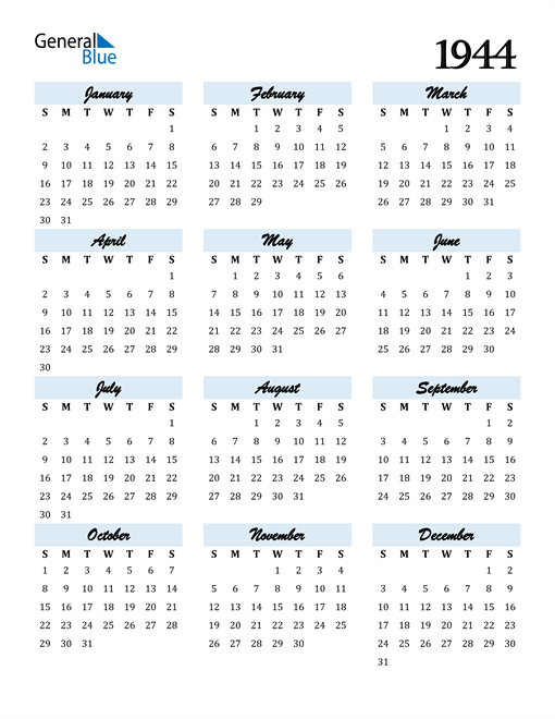 Image of 1944 1944 Calendar Cool and Funky