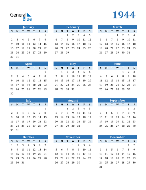 Image of 1944 1944 Calendar Blue with No Borders