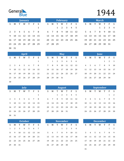 Image of 1944 1944 Calendar
