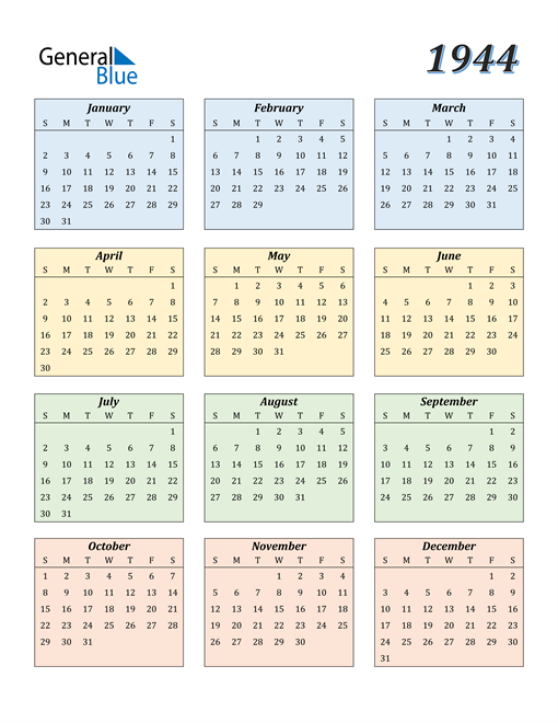 Image of 1944 1944 Calendar with Color