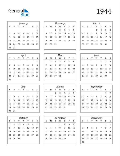 Image of 1944 1944 Calendar Streamlined