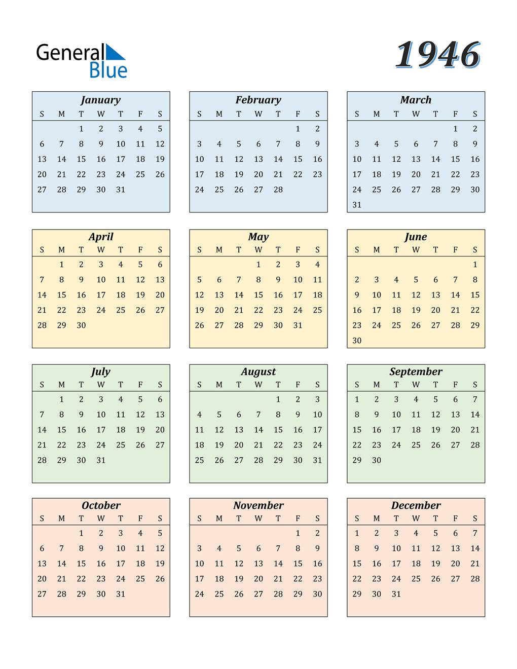 1946 Calendar (PDF, Word, Excel)