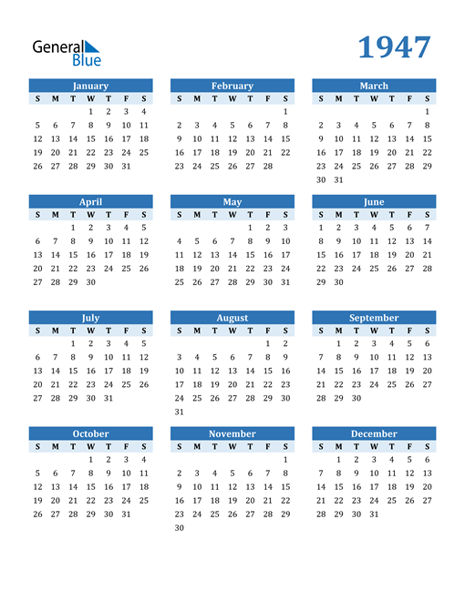 Image of 1947 1947 Calendar Blue with No Borders