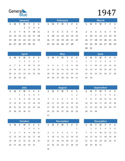 Image of 1947 1947 Calendar