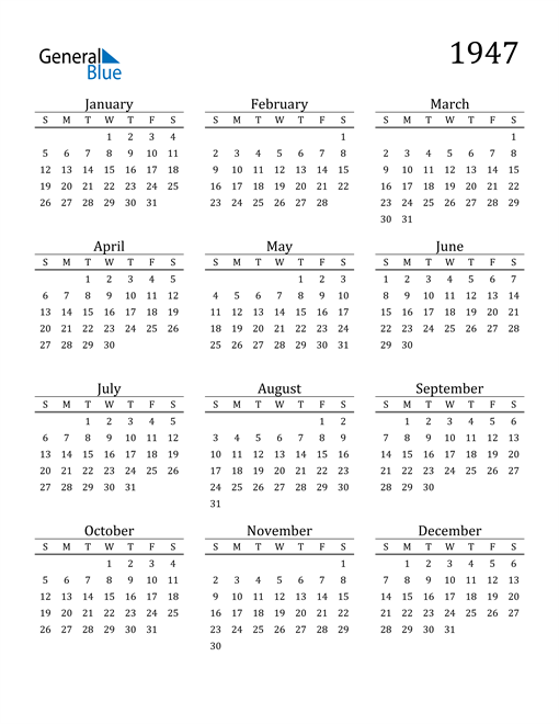 Image of 1947 1947 Printable Calendar Classic
