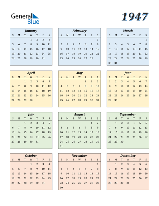 Image of 1947 1947 Calendar with Color