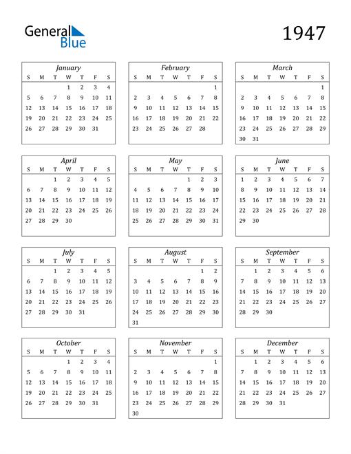 Image of 1947 1947 Calendar Streamlined