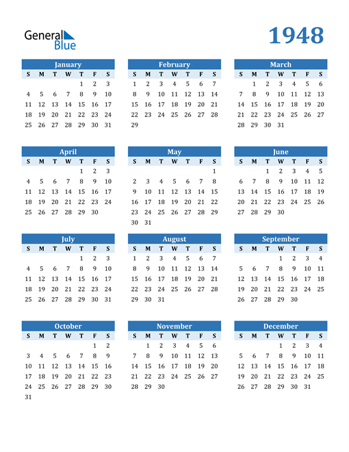 Image of 1948 1948 Calendar Blue with No Borders