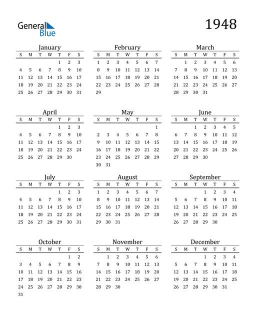Image of 1948 1948 Printable Calendar Classic