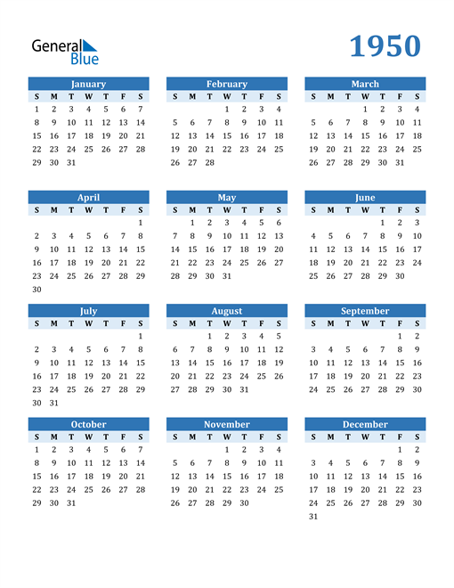 Image of 1950 1950 Calendar Blue with No Borders
