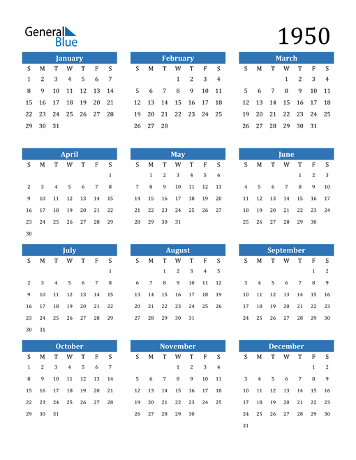 Image of 1950 1950 Calendar