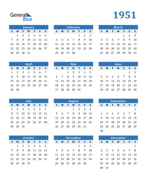 Image of 1951 1951 Calendar Blue with No Borders