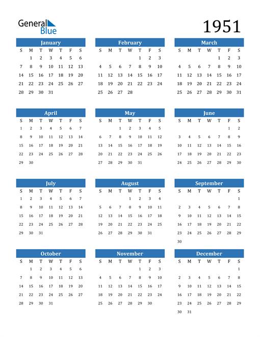 Image of 1951 1951 Calendar