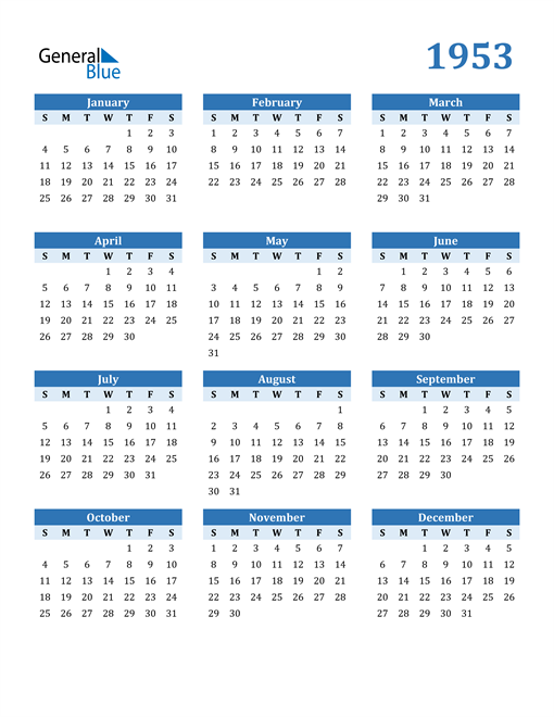 Image of 1953 1953 Calendar Blue with No Borders