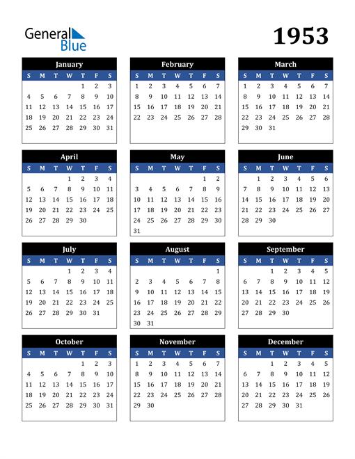 Image of 1953 1953 Calendar Stylish Dark Blue and Black