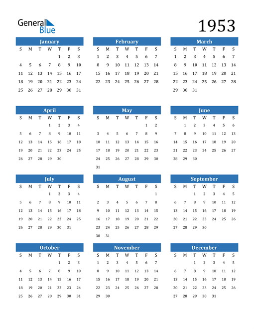 Image of 1953 1953 Calendar