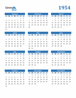 Image of 1954 1954 Calendar Blue with No Borders